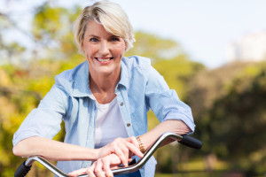 older lady on a bicycle